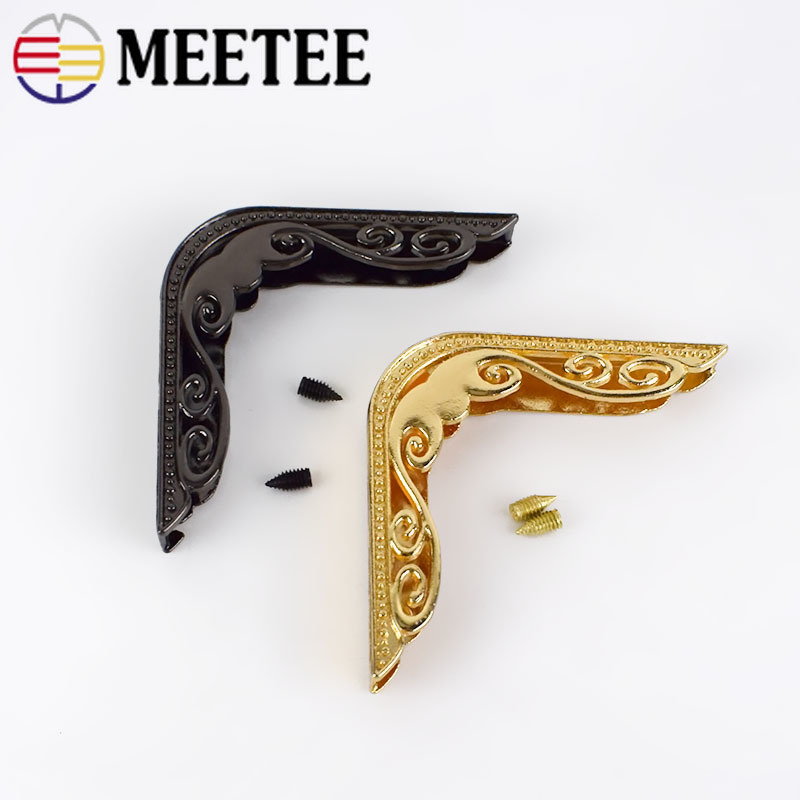 Meetee 10Pcs Bag Corner With Screw For Handbag Edge Protection Metal Hook Buckles Decoration Hardware Accessories  BF162