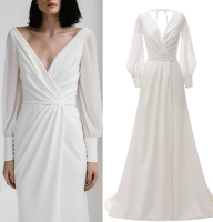 Real SAMPLE photo Long sleeve simple satin chiffon bridal wedding dress gown FACTORY PRICE PLUS SIZE