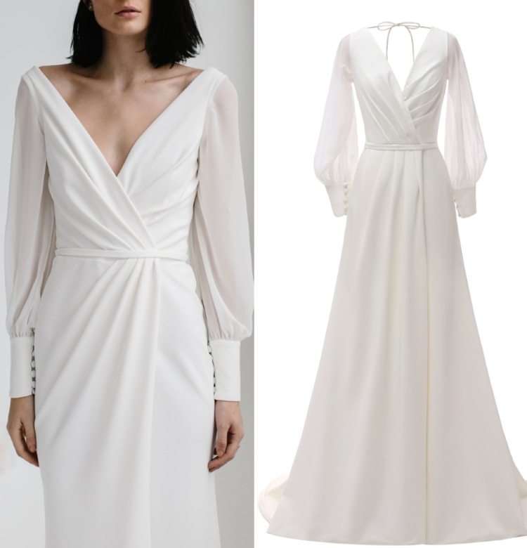 Gown Wedding-Dress Satin Long-Sleeve Bridal Photo Chiffon Real-Sample Factory-Price Plus-Size title=