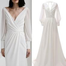 Real SAMPLE photo  Long sleeve simple satin chiffon bridal wedding dre