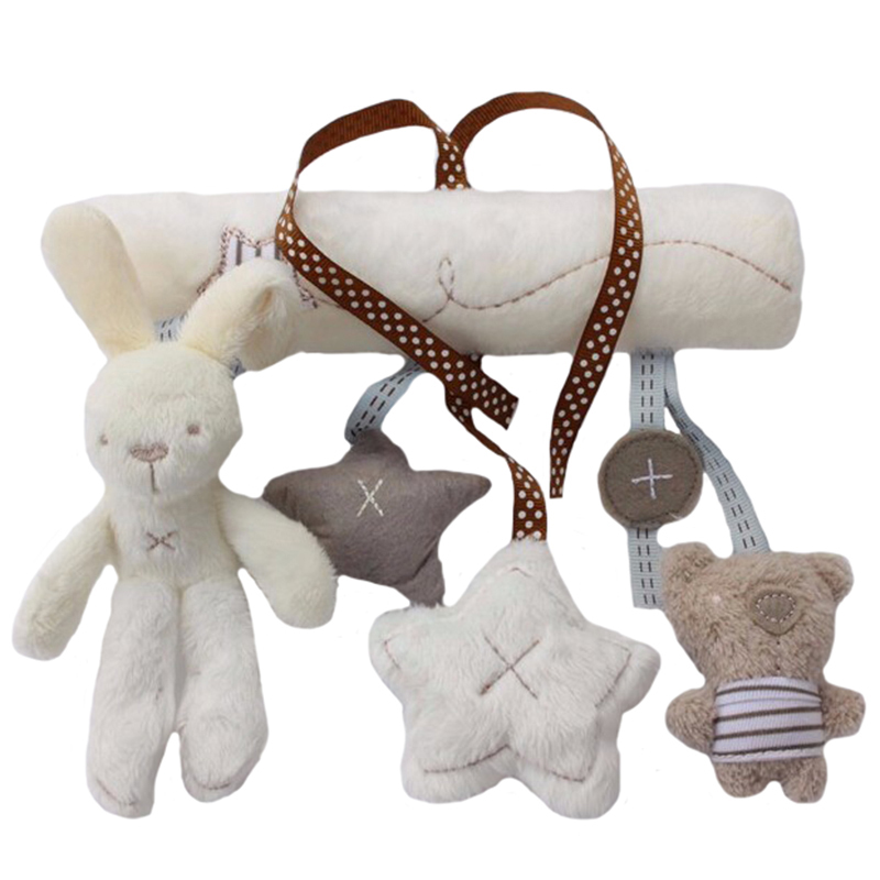 Toys & Hobbies ...  ... 32212764152 ... 3 ... Rabbit baby hanging bed safety seat plush toy Hand Bell Multifunctional Plush Toy Stroller Mobile Gifts WJ141 ...