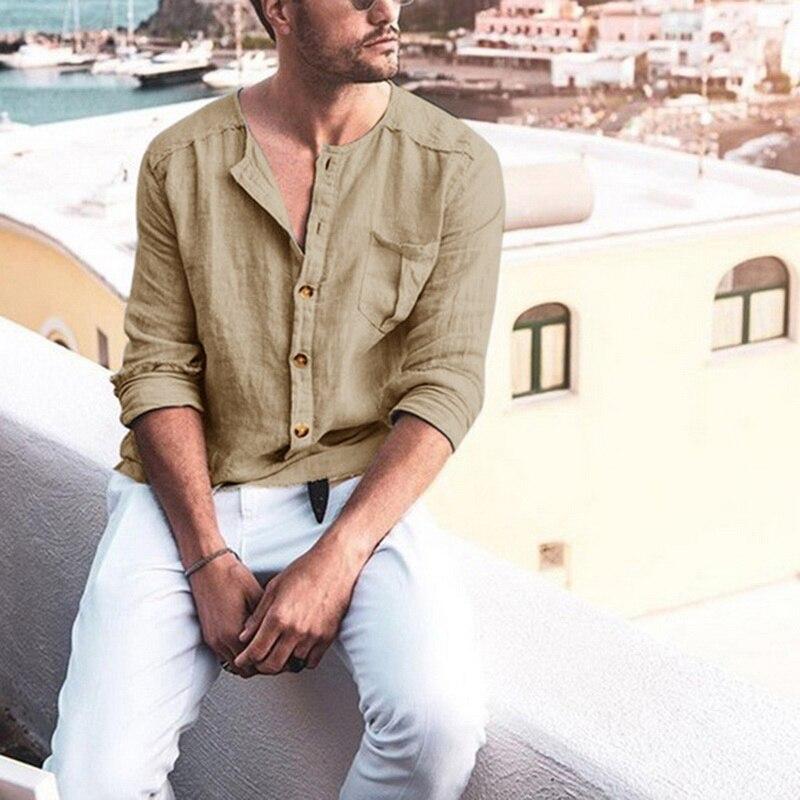2020 Summer Men's Baggy Cotton Linen Solid  Stand Collar Long Sleeve Beach Breathable Shirts Hawaiian Shirt Camisa Masculina 4XL