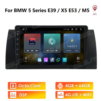 2 Din Car Radio Player Android 10 for BMW 5 E39 E53 E38 X5 1995-2001 2002 2003 2004 2005 2006 Navigation GPS Multimedia Video image