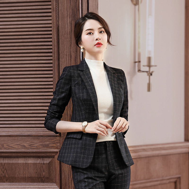 Women 2 Pieces Set Plaid Formal Pant Suit Office Lady Uniform Designs for Women Business High-quality slim Suits Work Wear