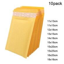 10 шт. Прочный липкость пузырь почтовые отправители желтый крафт бумага пузырь отправка самовывоз печать набивка конверты подарок сумки защита сумка