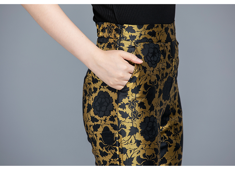 2019 Autumn Black Vintage Printed Two Piece Sets Outfits Women Plus Size Long Tops With Belt And Pants Suits Elegant Office Sets 57