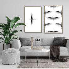 Черно белая картина из гусиного холста настенное искусство скандинавский