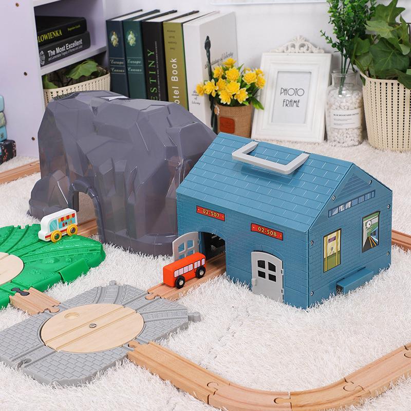 Wooden Train Track Toys Set Garage Parking Tunnel Accessories Storage Box Track Train Rail Transit Slot Wooden Railway Kids Toys