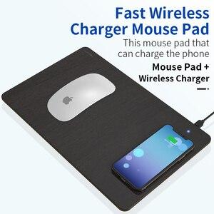 Image 2 - Coolreall טלפון אלחוטי מטען משטח עכבר מהיר טעינה מחצלת עור מפוצל מחשב שטיחי עכבר עבור iPhone 11 פרו X סמסונג S10 Huawei