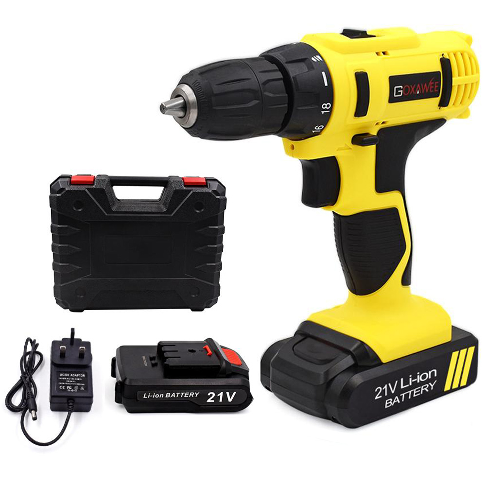 GOXAWEE 21V/12V Electric Screwdriver Cordless Electric Drill Lithium-Ion Battery Operated Rechargeable Multi-function Power Tool