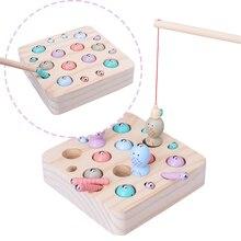 Новые Детские деревянные игрушки, 3D пазл для детей раннего возраста, Обучающие игрушки, игра «Поймай червячка», рыболовная игра, цветная познавательная Магнитная игра