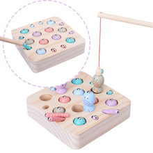 Juguetes de madera para bebés, rompecabezas 3D, juguetes educativos para niños, Juego de pesca con gusanos de captura, Color cognitivo magnético