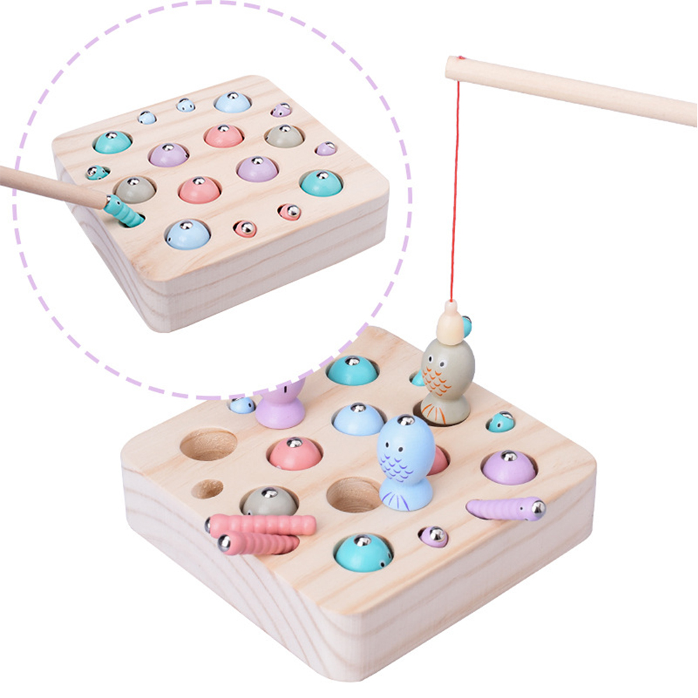 New Baby Wooden Toys 3D Puzzle Early Childhood Kids Educational Toys Catch Worm Game Fishing Game Color Cognitive Magnetic