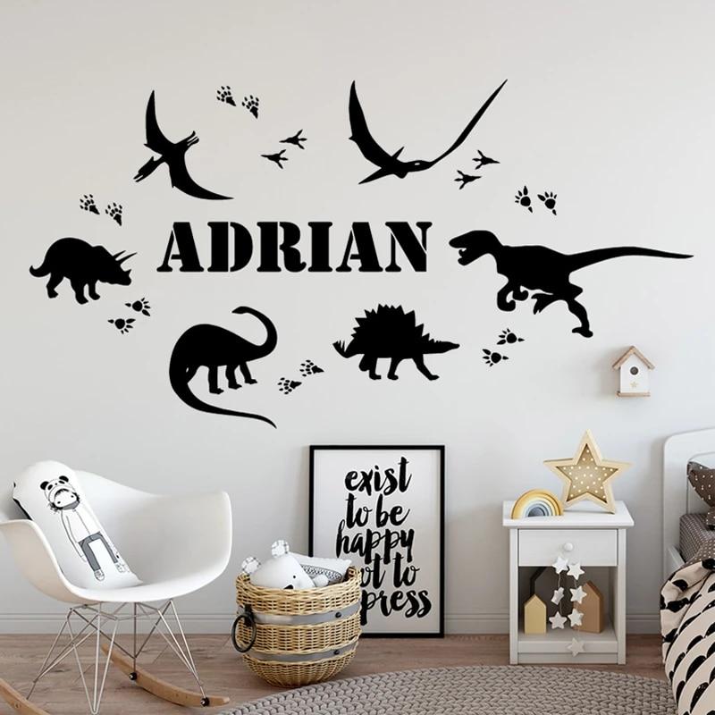 Kids Room Decor Dinosaur Decor Wall Art Sticker Custom Name Dinosaur Vinyl wall sticker Kids Bedroom Decal