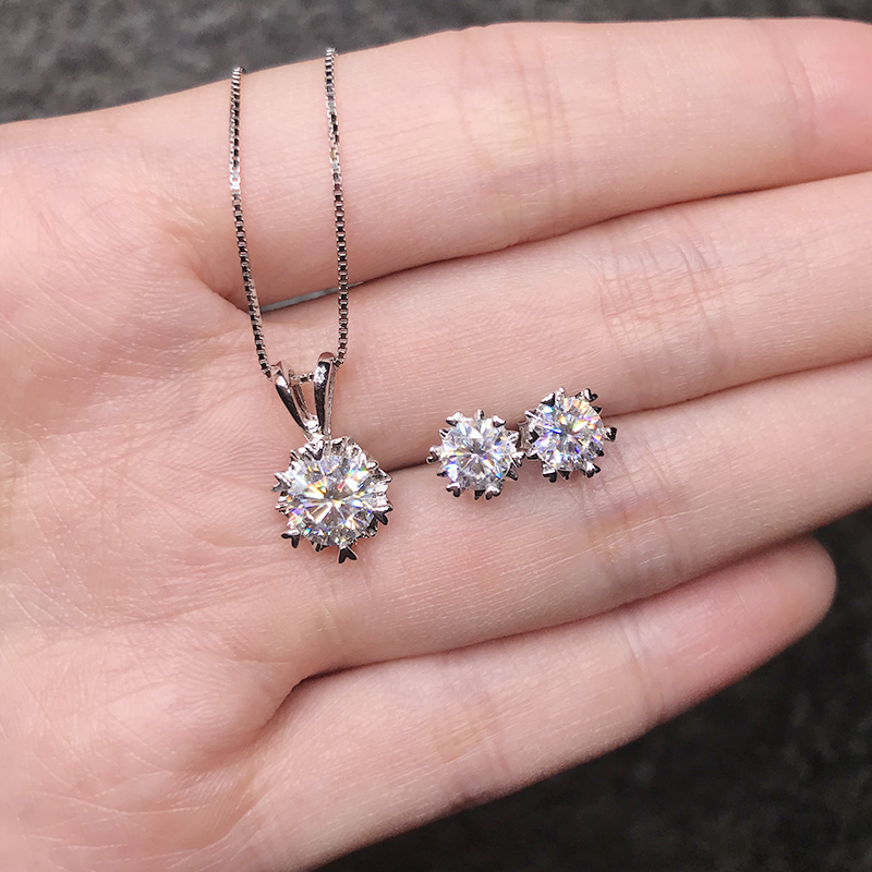 BOEYCJR 925 Silver 1ct F color Moissanite VVS Fine Jewelry Diamond Necklace&Earrings Jewelry Set for Women Anniversary Gift