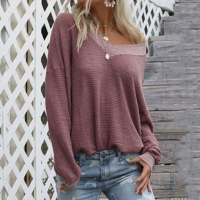 2019 Autumn Knitted Sweater V Neck Sweaters Ladies Long Sleeve Off Shoulder Sweater Women Loose Sweater Pullover Female