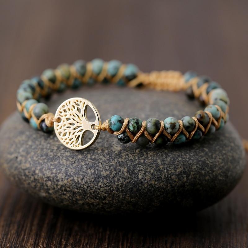 Vintage Leather Bracelets natural Stone Wrap Bracelets for men and Women tree Boho Friendship Bracelet Handmade Jewelry(China)