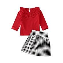 Комплект одежды из 2 предметов для маленьких девочек Однотонная футболка с оборками и длинными рукавами+ клетчатая юбка трапециевидной формы, комплект одежды