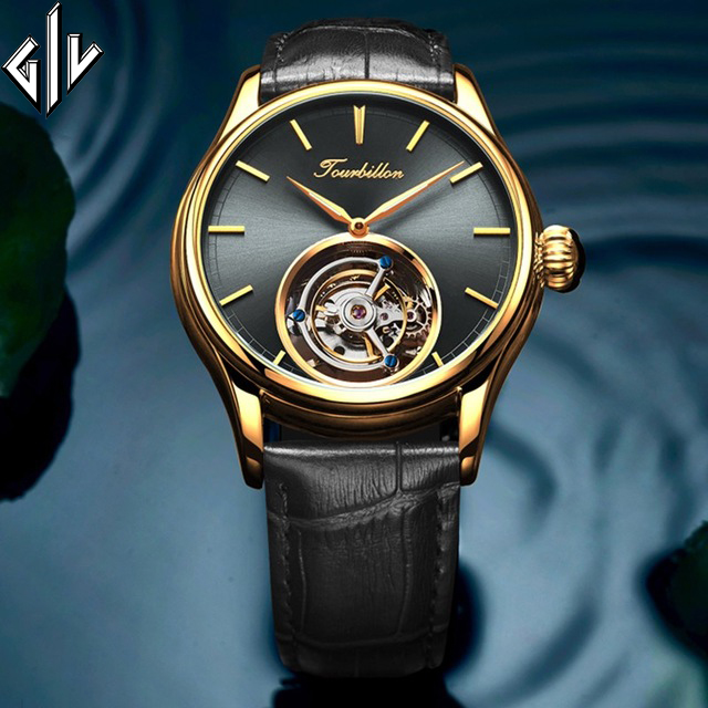 GIV Classic Tourbillon Watch Men Mechanical Hand Wind Sapphire Waterproof Watch Top Brand Luxury Clock Men Montre Homme Male