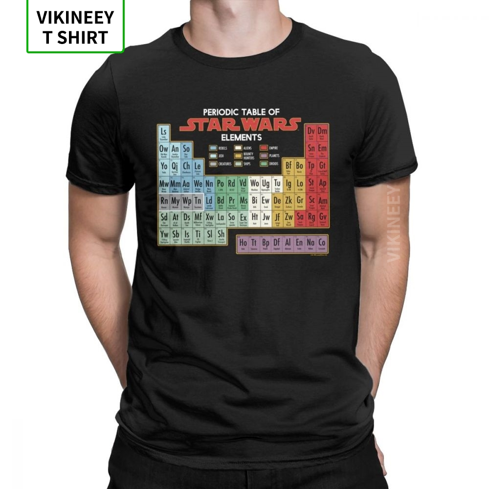 Men Star Wars Elements Graphic T-Shirt Chemistry Periodic Table Cool Crewneck Short Sleeve Tops 100% Cotton Tees T Shirt 3XL