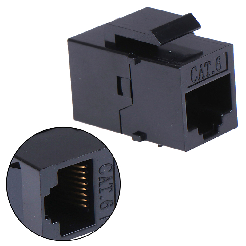 RJ45 Inline Keystone Coupler Black Color PcConnectTM CAT5E