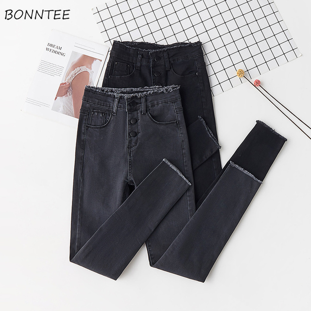 ג ינס נשים עיפרון סקיני Slim ציצית כפתור לטוס מוצק נשים Bottoms בסיסי ז אן קלאסי שיק קוריאני סגנון פנאי אופנתי שיק