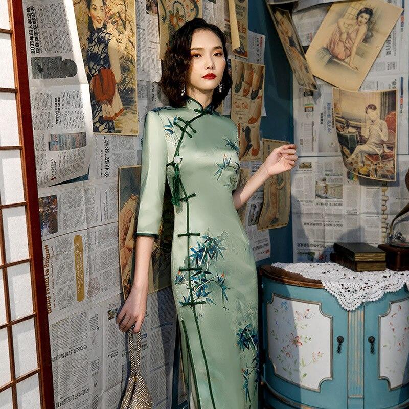 SHENG COCO Women Chinese Traditional Dress Oblique Green Cheongsam Long Silk Qipao Dresses Green Clothing Qipao Vestidos 4XL 3XL
