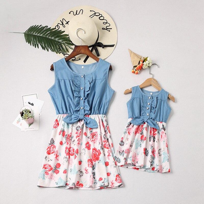 SAILEROAD maman et moi famille correspondant mère fille Patchwork Denim robes bébé barboteuse maman et fille enfants Parent tenues
