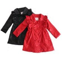 Куртки из искусственной кожи для девочек длинное пальто из искусственной кожи для детей от 3 до 12 лет, двубортный весенне-осенний Тренч с металлической пряжкой и поясом