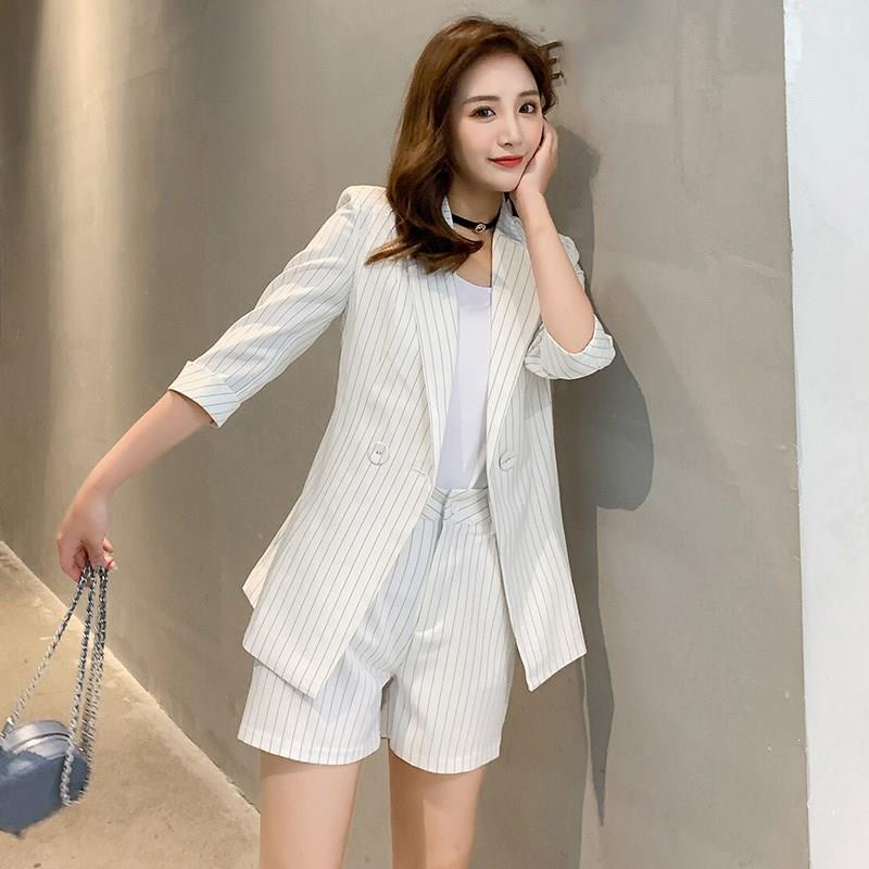 Nice Korean Fashion Work Pants Suits 2 Piece Sets Striped Blazer Jacket Shorts Office Lady Suits