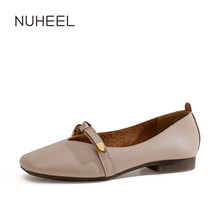 NUHEEL women's shoes spring new pump square toe thick with low heel shallow mouth small fragrance wind fairy shoes women