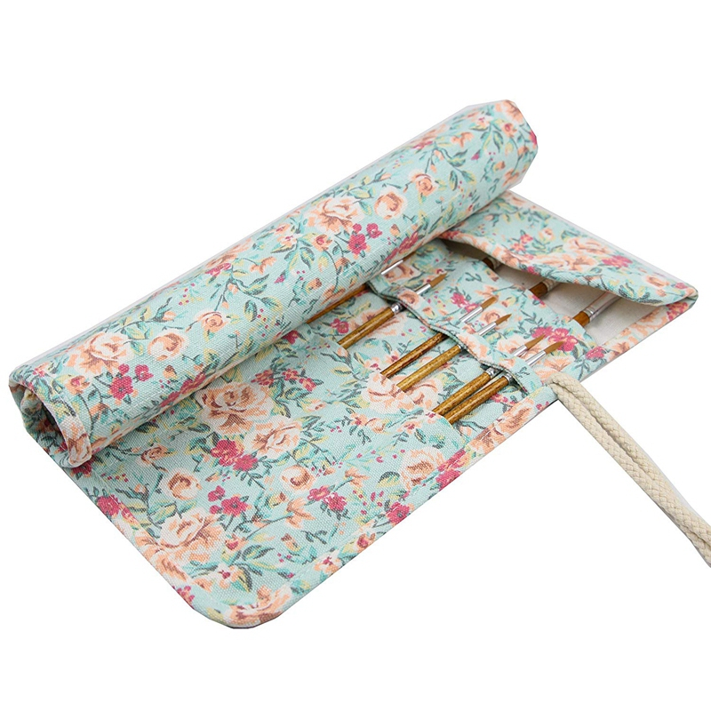 20 Pockets Art Paint Brushes Case Roll Up Pen Holder Canvas Pouch Bag