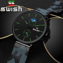 スウィッシュ 2020 メンズ腕時計トップブランドの高級クォーツ時計防水迷彩ステンレススチールストラップ腕時計ギフトパッケージ