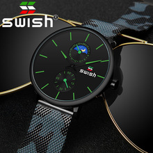 SWISH 2020 Mens Watches Top Brand Luxury Quartz Watch Waterproof Camouflage Stainless Steel Strap Wristwatch with Gift Package