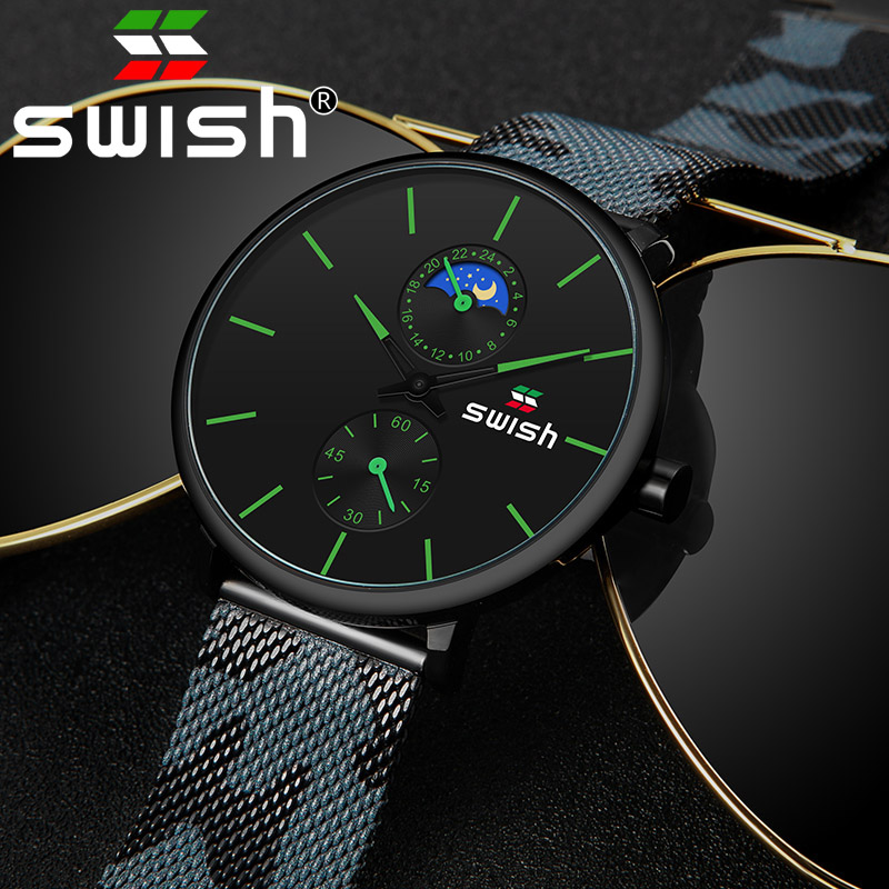 SWISH Watches Men 2019 Mens Watches Top Brand Luxury Quartz Watch Waterproof Camouflage Stainless Steel Strap-in Quartz Watches from Watches
