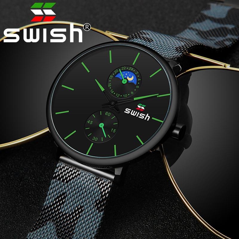 SWISH Watches Men 2019 Mens Watches Top Brand Luxury Quartz Watch Waterproof Camouflage Stainless Steel Strap