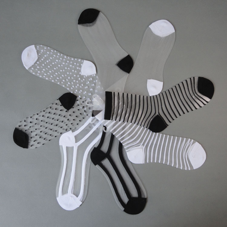 Summer Cool Dot Tulle Socks Women Breathable Transparent Ultra-thin Socks Female Mesh Small Polka Dots Socks