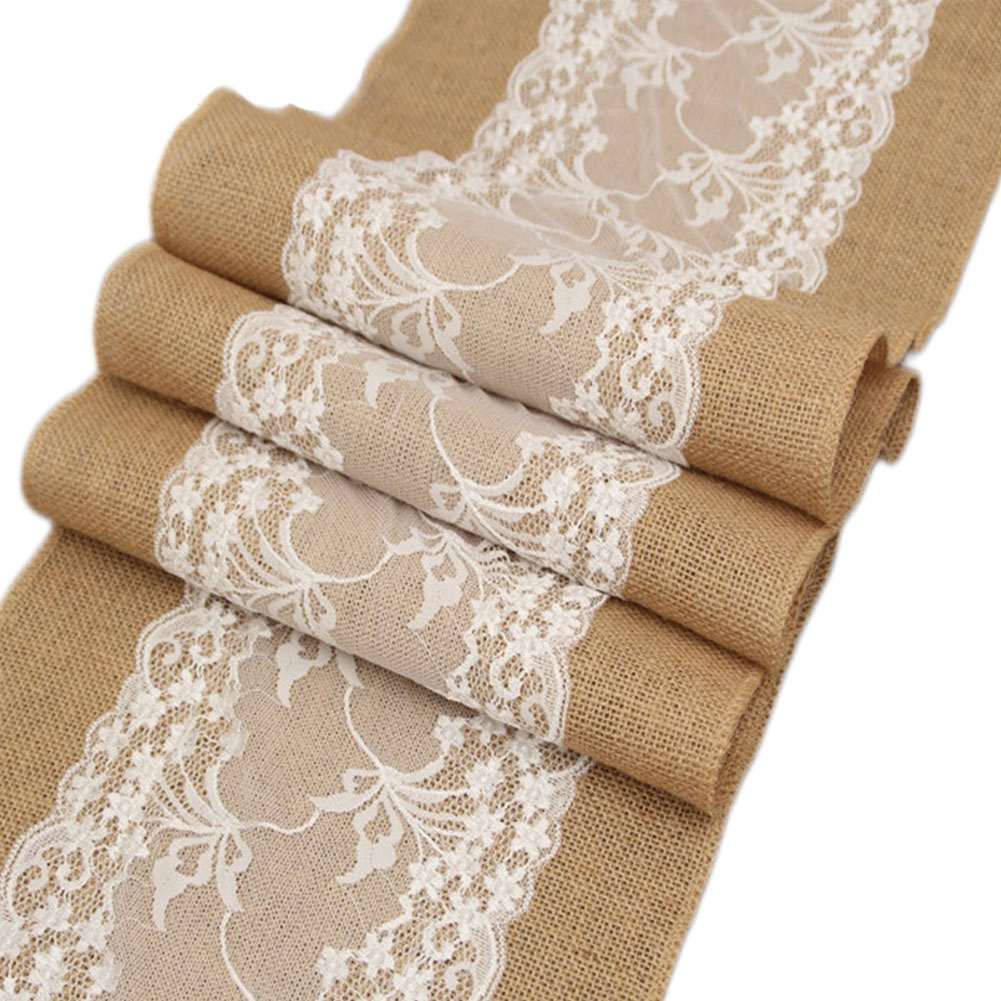 Dining Room Lace Burlap Rustic Vintage Restaurant Party Christmas Wedding Decoration Home Gadget Table Runner Banquet Birthday