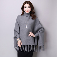 2019 Autumn And Winter New Style Knitted Sweater Cloak Shawl Korean style Loose Fit Tassels Pullover Bat Sleeve Sweater Women's