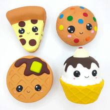 Cartoon Cheese Chocolate Biscuits Cake Cute Squishy Food Slow Rising Cream Scented Soft Squeeze Toy Relieve Stress Funny Gift
