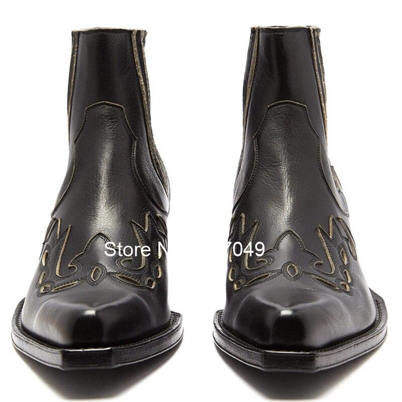 Прошитая Мужская безопасная обувь без застежки; рабочие ботинки из натуральной кожи; мужские ковбойские ботинки с острым носком; модная мужская зимняя обувь - 5