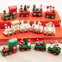 Christmas decorations wooden train childrens kindergarten holiday gifts ornaments New Year for kids