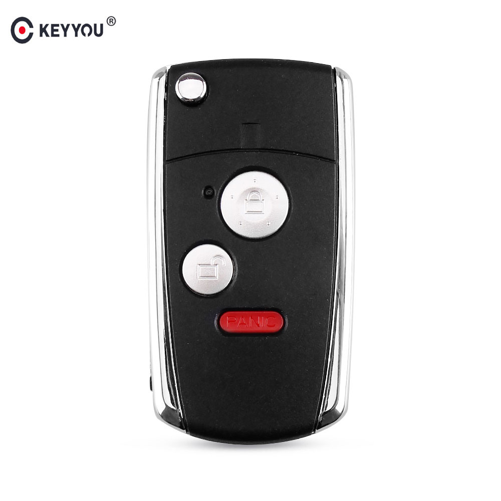KEYYOU 3/2+Panic Buttons Modified <font><b>Flip</b></font> Folding <font><b>Remote</b></font> Key Shell for <font><b>HONDA</b></font> <font><b>ACCORD</b></font> CRV CIVIC ODYSSEY Pilot image