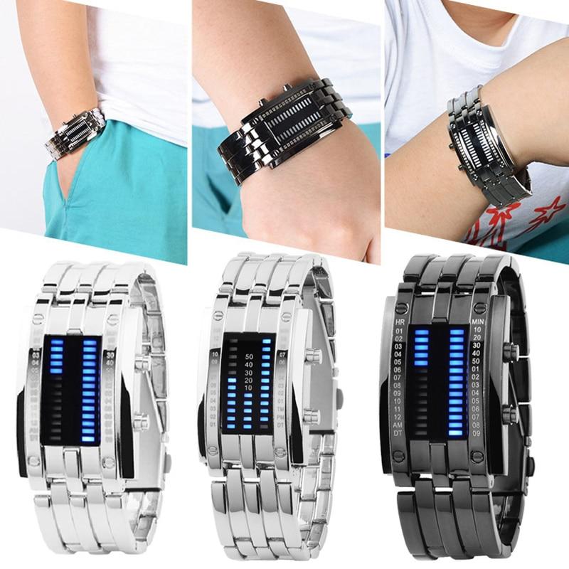 Binary LED Digital Wrist Band Matching Watch for Couple Fashion Creative FEA889
