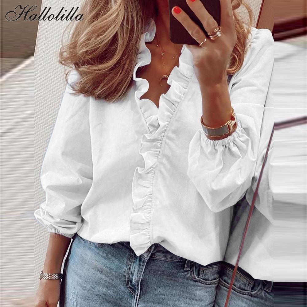 Bayan üstleri ve bluzlar zarif uzun kollu beyaz gömlek bayanlar katı renk Femme Blusa Feminina Streetwear Ropa Mujer artı boyutu