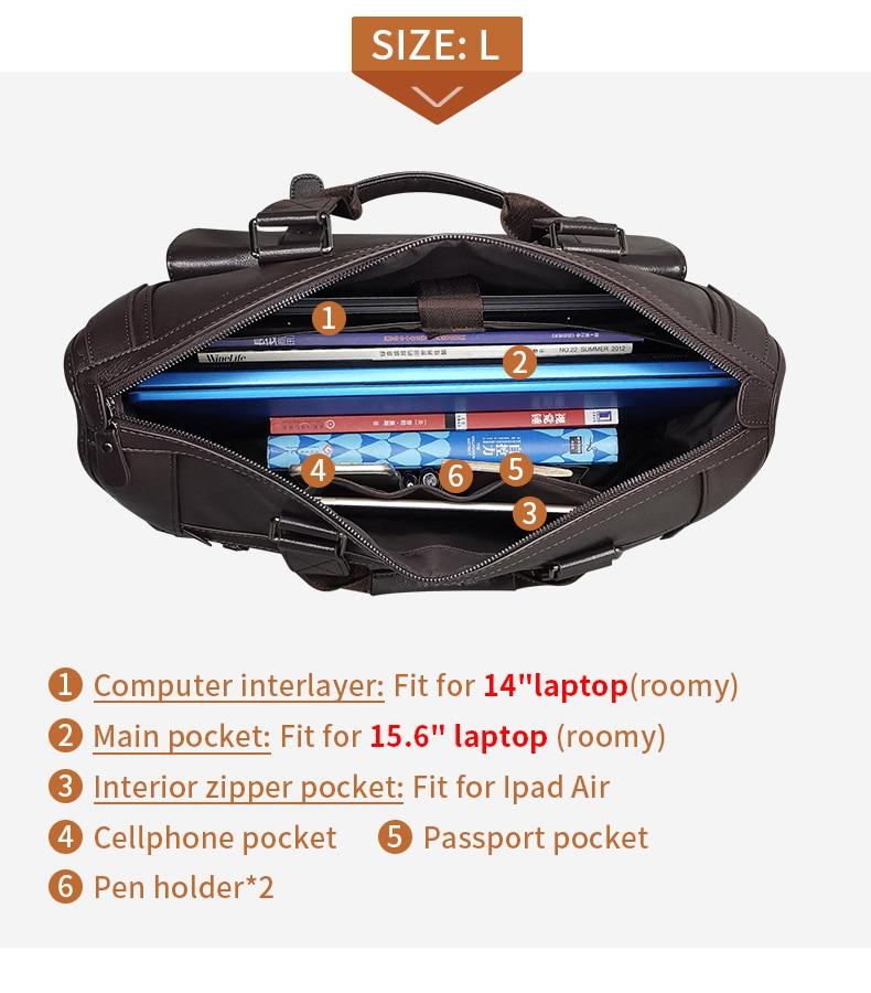 H737192318ea2407c81eee4e542f9e388G Men Leather Black Briefcase Business Handbag Messenger Bags Male Vintage Shoulder Bag Men's Large Laptop Travel Bags Hot XA177ZC