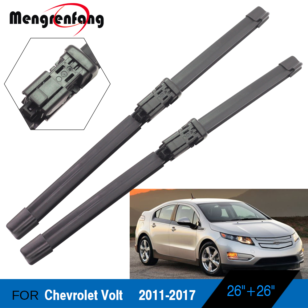 For Chevrolet Volt Car Front Windscreen Wiper Soft Rubber Wiper Blades Push Button Arms 2011 2012 2013 2014 2015 2016 2017|Windscreen Wipers| |  -
