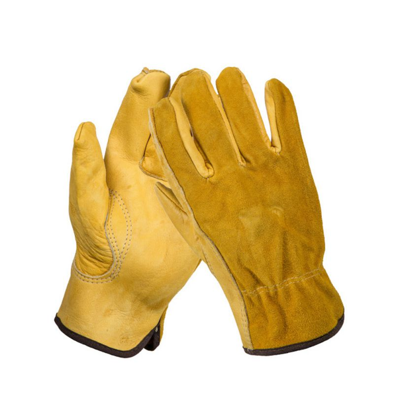 1 Pair Work Gloves Cowhide Security Protection Wear Welding Moto Hunting Gloves 7