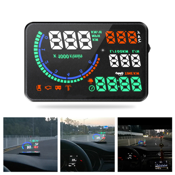 Car Heads-Up Display Color I9 5.5 Inch Hu  Led Windshield Projector Obd2 Scanner Speed Warning Fuel Consumption Data