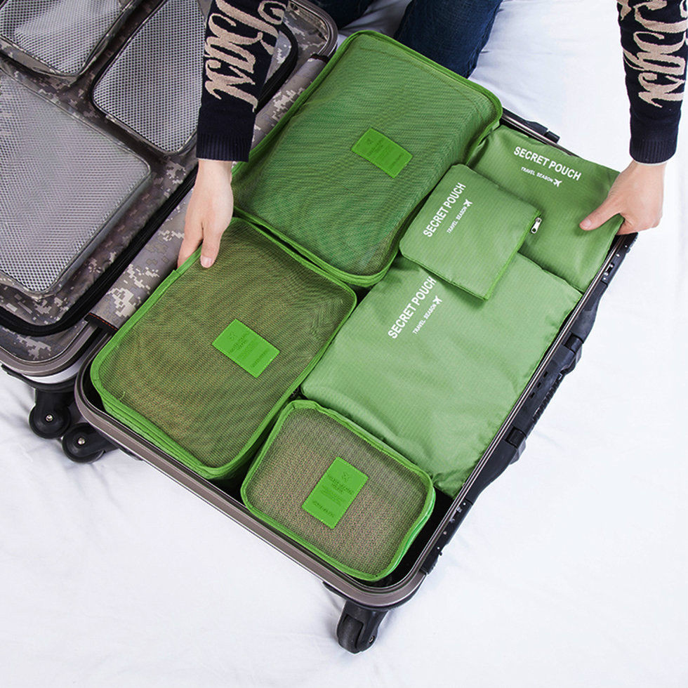 Local stock 6Pcs Waterproof Travel Bags Clothes  Luggage Organizer Pouch Packing SALE